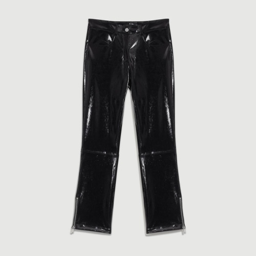 Maje Paris- Pantalon cigarette en simili cuir