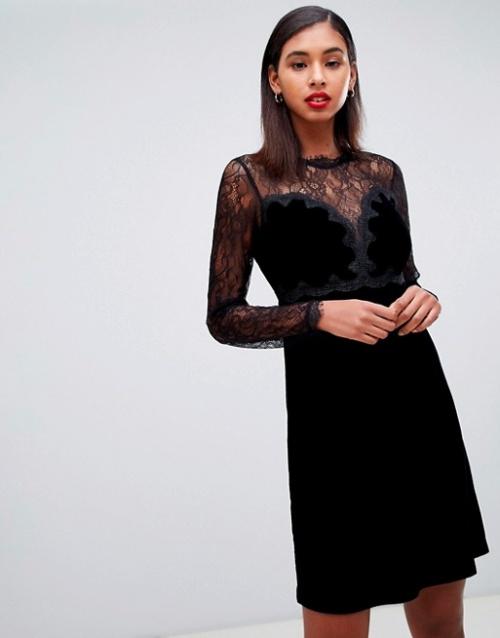 Morgan - Robe de bal de promo courte en velours et bordée de dentelle