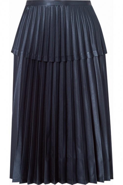 Noir Kei Ninomiya - Jupe midi plissée en satin