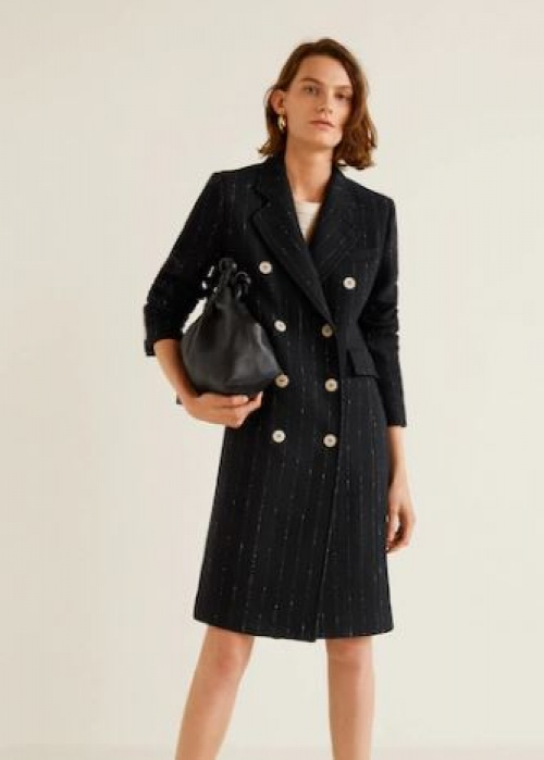 Mango - Manteau en laine à double boutonnage