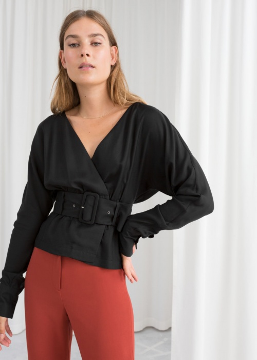 & Other Stories - Blouse wrap ceinturée