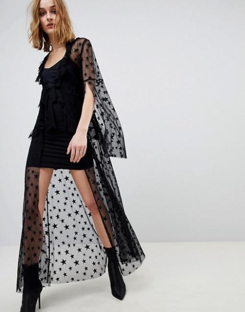 Anna Sui - Robe avec laçage en tulle transparent motif étoile
