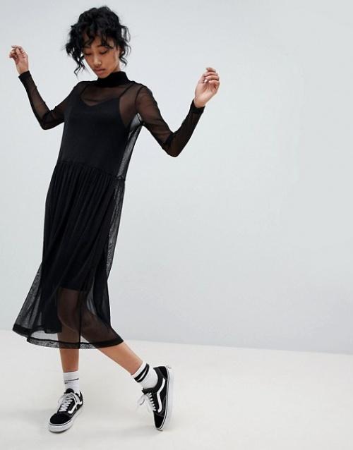 Pieces - Robe longue transparente à encolure haute