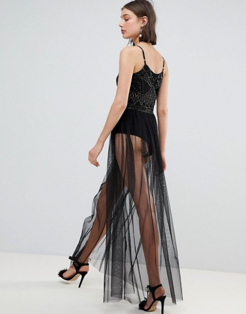 Lace & Beads - Body avec ornements et jupe transparente