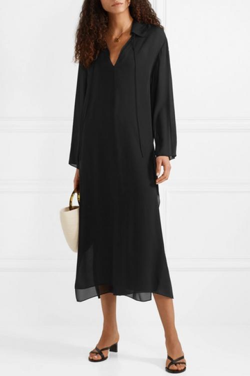 Theory - Robe longue oversize en crêpe de Chine de soie Sailor