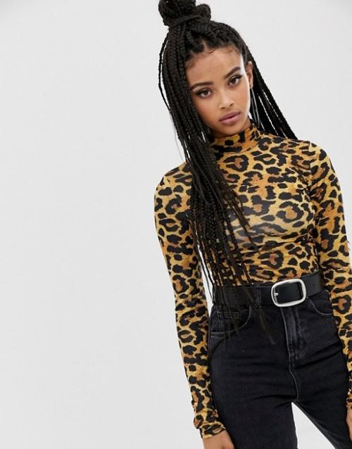 COLLUSION - Body à imprimé léopard