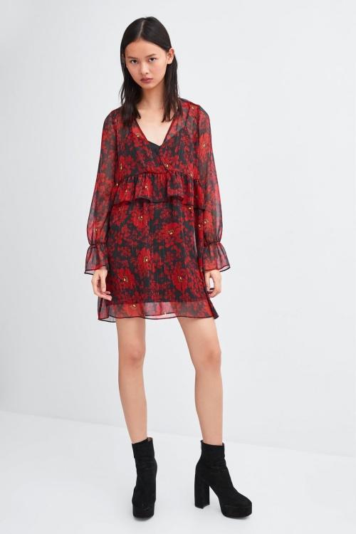 Zara- Robe rouge imprimée
