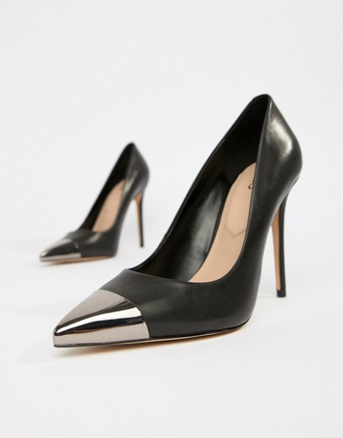 ALDO - Edania - Escarpins en cuir avec bout en métal noir