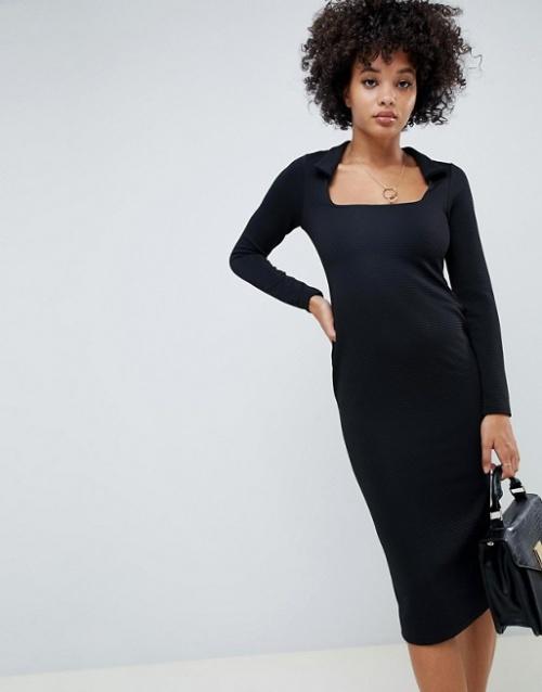ASOS DESIGN - Robe fourreau côtelée à col