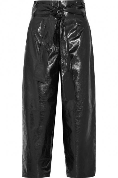 Valentino - Jupe-culotte en cuir texturé glacé
