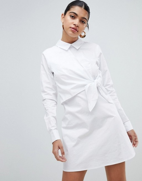 Fashion Union - Robe chemise nouée sur le devant