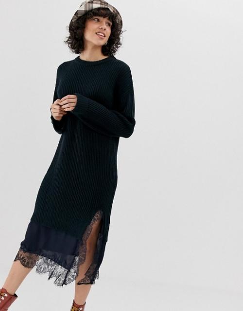 Lost Ink - Robe pull en maille avec ourlet en dentelle contrastante