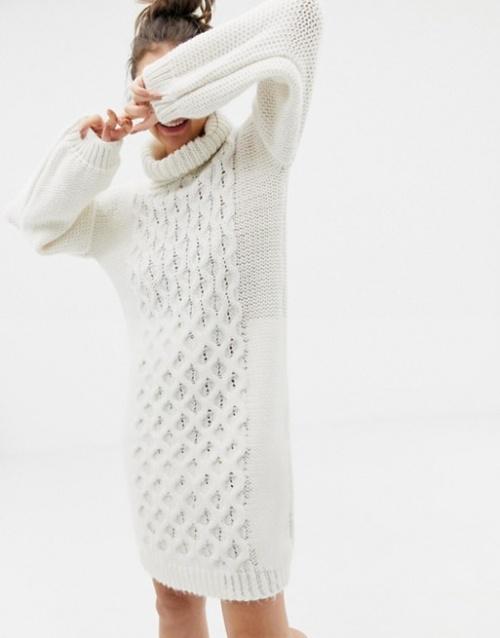 OneOn - Robe pull tricoté main en maille torsadée avec col roulé