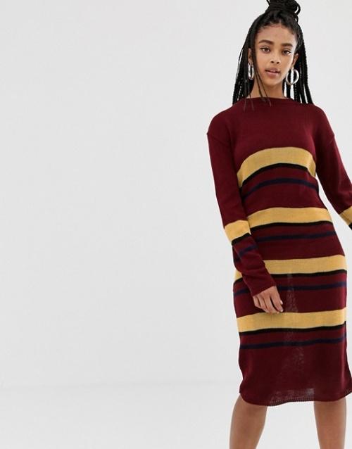 Daisy Street - Robe pull mi-longue à rayures en maille