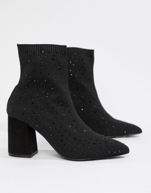 Miss Selfridges - Bottines chaussettes ornées de strass