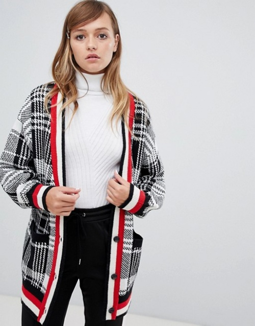 Monki - Cardigan oversize à carreaux