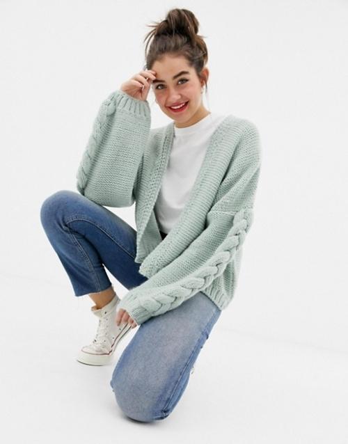 OneOn - Cardigan en maille torsadée tricoté à la main