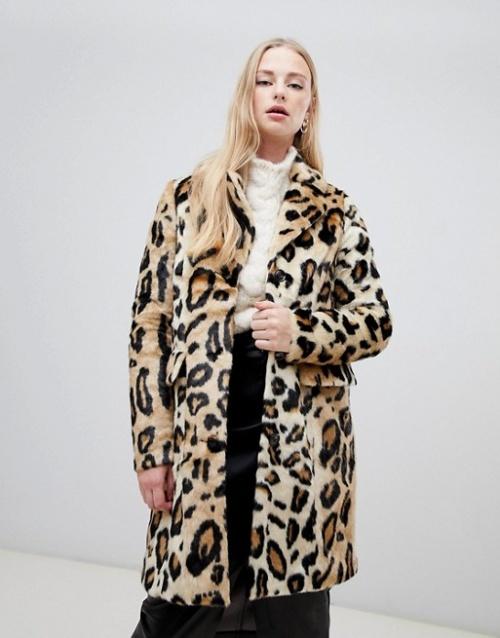 Vero Moda - Manteau fausse fourrure à imprimé léopard