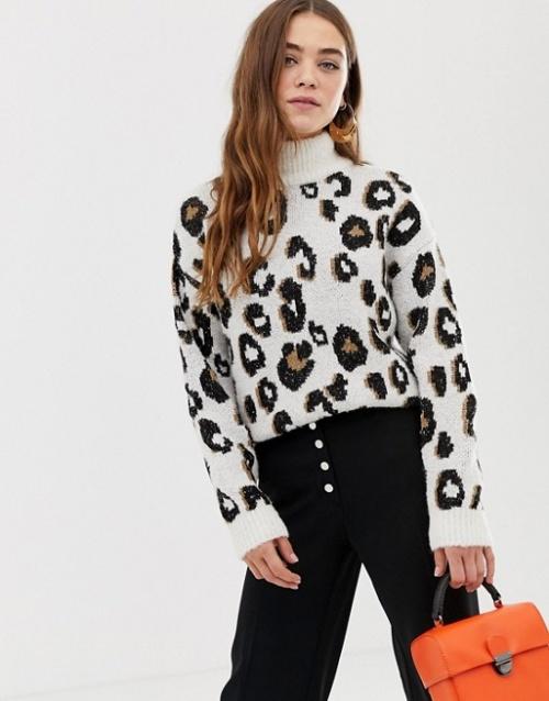 Pimkie - Pull col roulé à imprimé léopard
