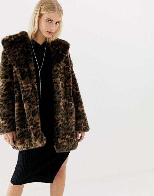 AllSaints - Amice - Manteau fausse fourrure à motif léopard