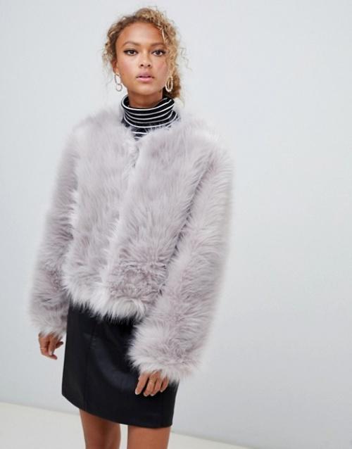 New Look - Manteau sans col en fausse fourrure duveteuse