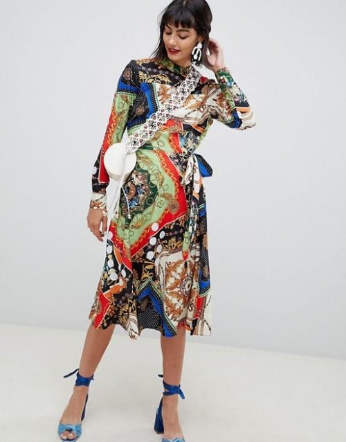 ÉPUISÉASOS - Robe mi-longue imprimée foulard