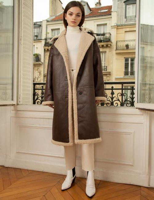 Pixie Market - Long manteau en cuir