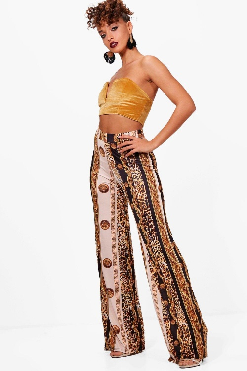 Boohoo- Pantalon large imprimé foulard