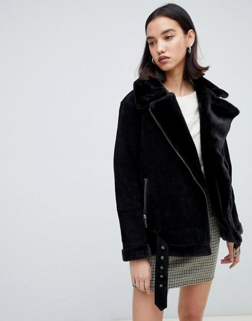 Selected femme - Manteau aviateur en daim imitation peau de mouton