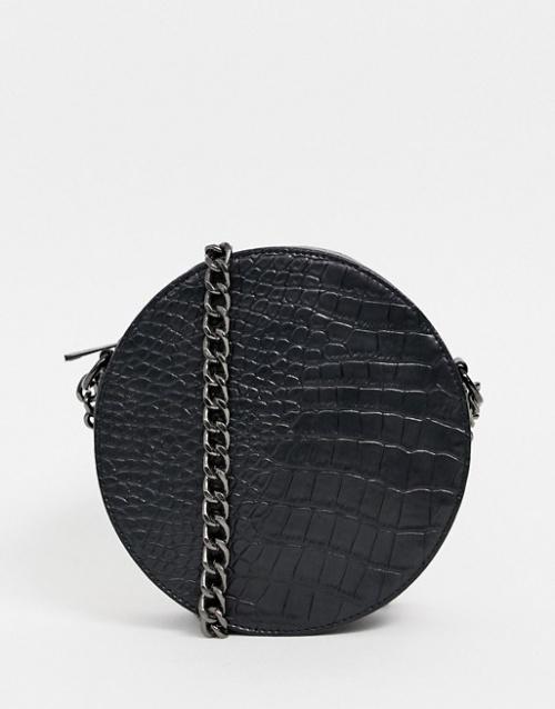 Missguided - Sac rond avec bandoulière chaîne et effet croco