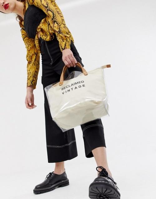 Reclaimed Vintage Inspired - Tote bag en plastique transparent avec intérieur en toile avec logo