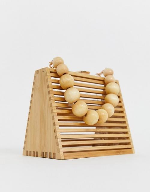 ASOS DESIGN - Sac porté main triangulaire en bambou avec anse en perles et bandoulière amovible