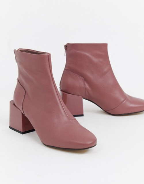 Asos- Bottines en cuir rose