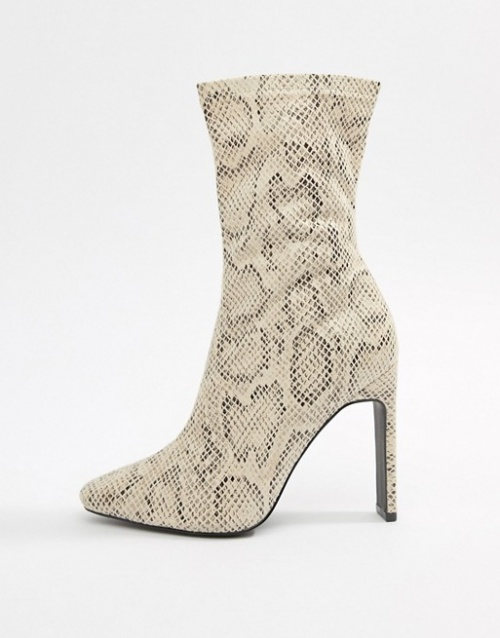 Simmi London - Bottines pointues aspect peau de serpent