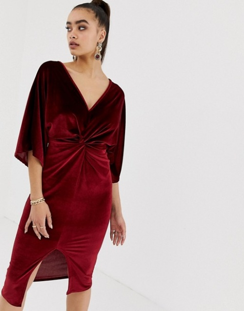 Missguided- Robe velours rouge