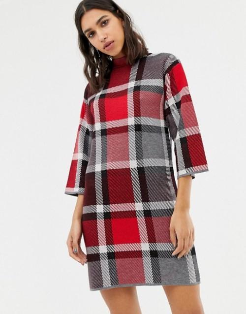 Warehouse- Robe pull à carreaux