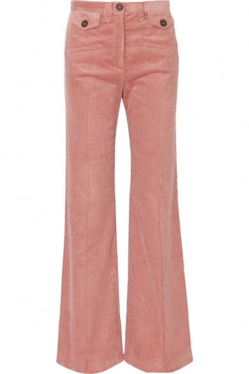 ALEXACHUNG - Pantalon bootcut en velours côtelé de coton mélangé