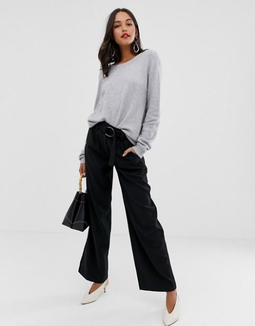 Vila - Pantalon large taille haute à ceinture