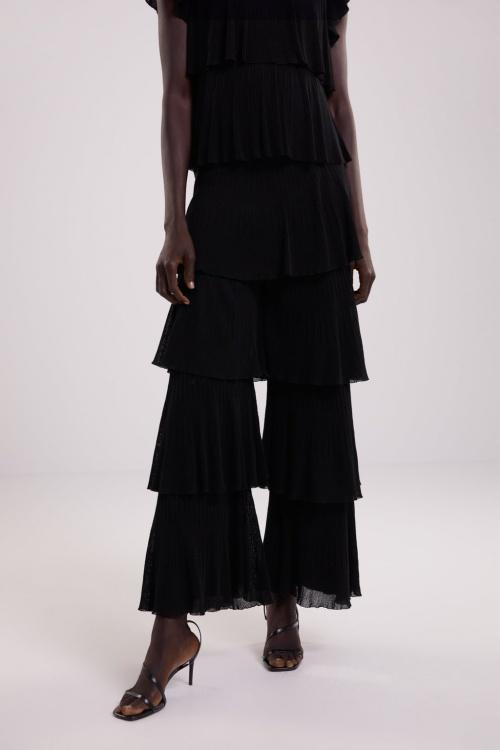 Zara - Pantalon en maille à volants