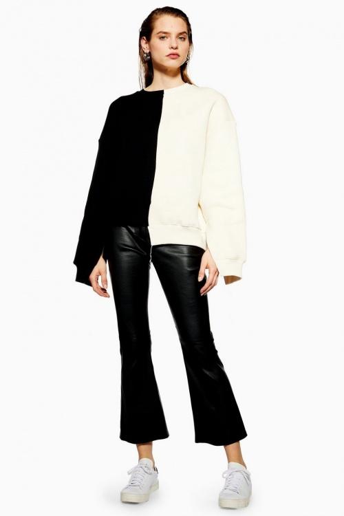 Topshop - Pantalon évasé en cuir, Boutique