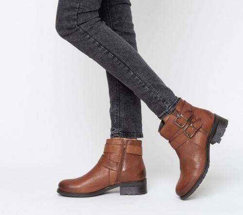 Eram - Boots motard en cuir marron