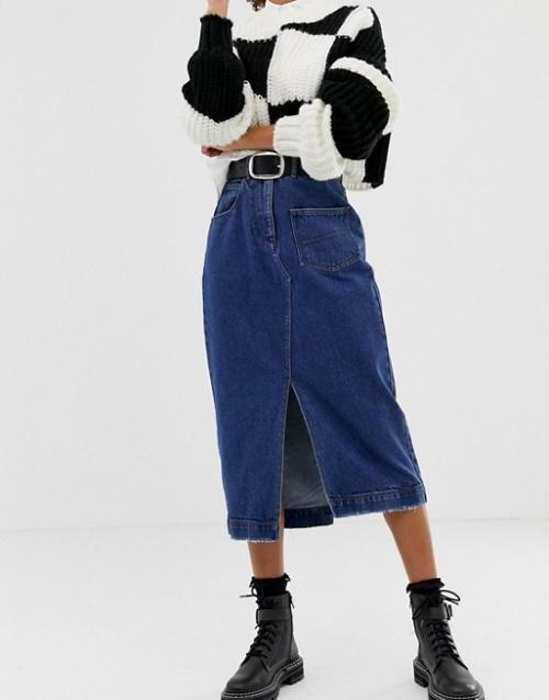 COLLUSION - Jupe mi-longue en jean