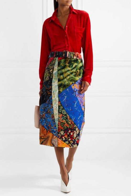 Rosie Assoulin - Jupe midi en velours de coton imprimé à ceinture