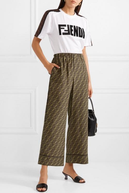 Fendi - Pantalon large raccourci en satin de soie imprimé