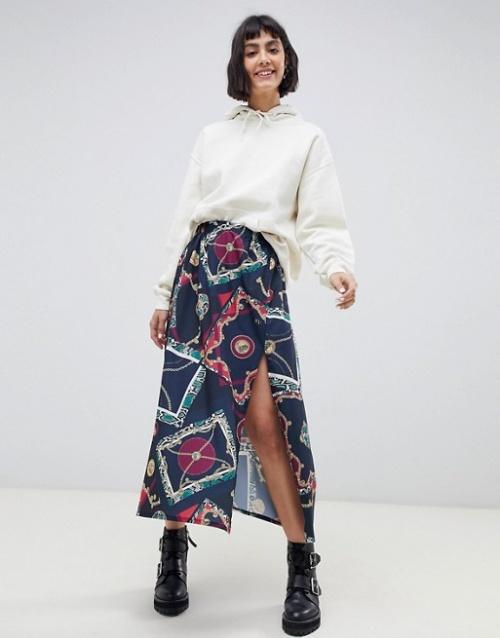 Reclaimed Vintage Inspired - Jupe mi-longue à imprimé écharpe