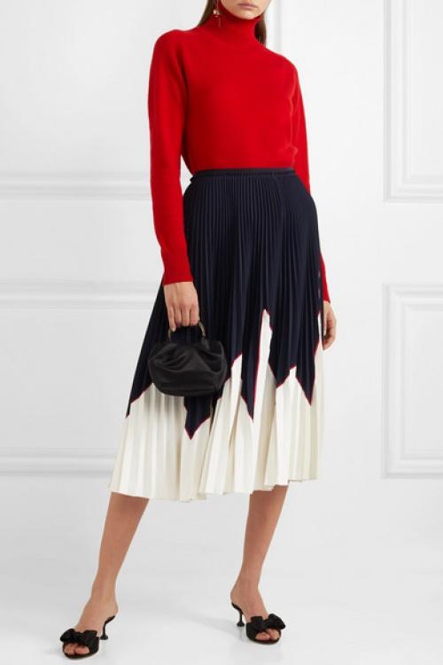 REDValentino - Jupe midi plissée en piqué stretch bicolore