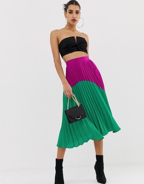 Boohoo - Jupe mi-longue plissée color block