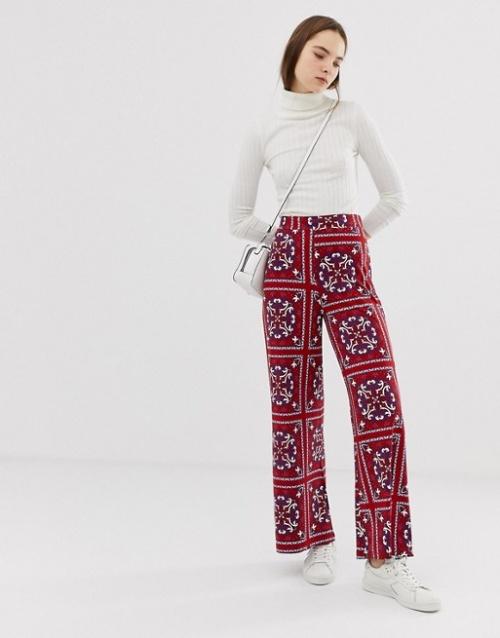 ASOS DESIGN - Pantalon large à imprimé foulard cachemire