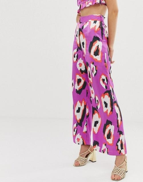 Dusty Daze - Pantalon large d'ensemble taille haute à imprimé abstrait