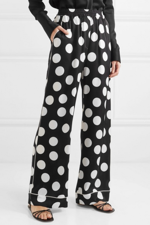 Dolce & Gabbana - Pantalon large en satin de soie à pois